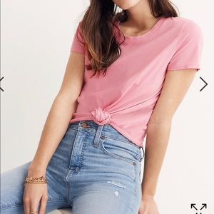 Madewell Knot-Front Tee petal pink size xs